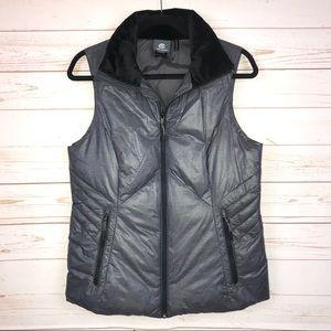 Champion Faux Fur Collar Puffer Vest Pockets Sz M
